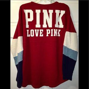 PINK Victoria's Secret Tops - EUC VS PINK Varsity Crew Pullover ❤️